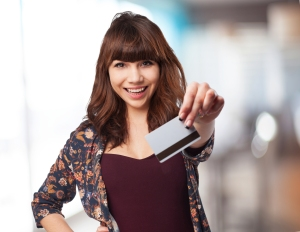 young woman with credit car
